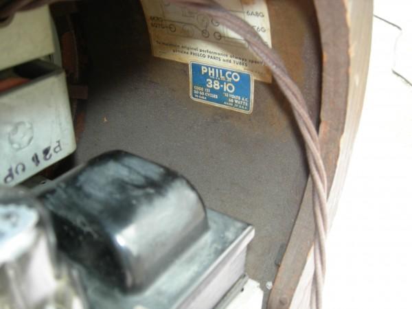Philco 38-10 Label